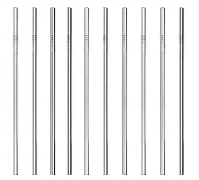 Kit de 10 Canudos de Aço Inox Básico Reto