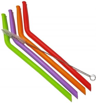 Kit de 4 Canudos Curvos Coloridos de Silicone
