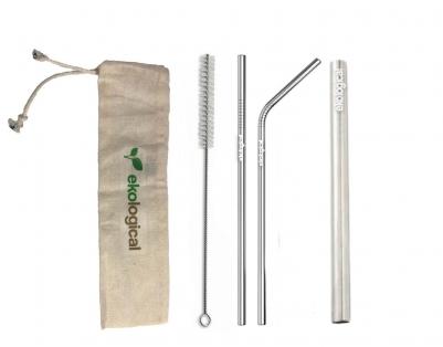 Kit de Canudo de Inox Ecológico Prata