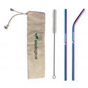 Kit de Canudos Ecológicos Coloridos de Aço Inoxidável