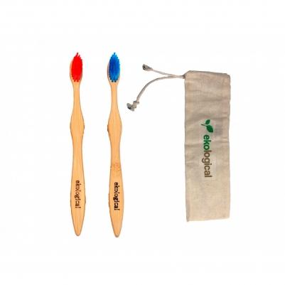 Par de Escovas de Dente com Bolsa de Algodão