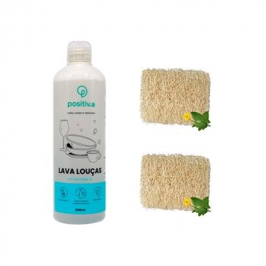 Kit Detergente Lava Louças  Neutro Com 2 Buchas Vegetal