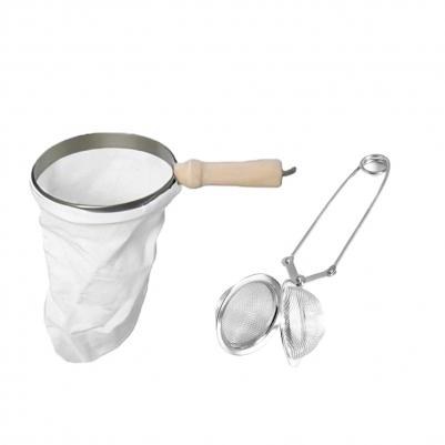 Kit Filtro Coador de Café de Pano Grande e Infusor de Chá Inox com Pinça