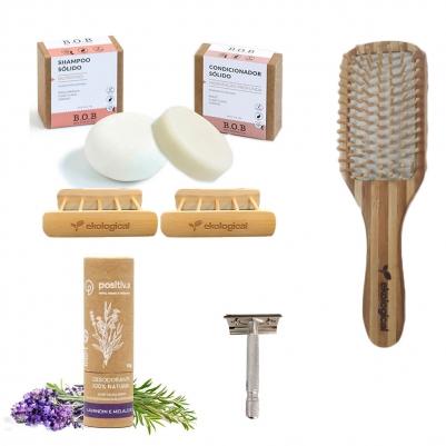 Kit Higiene Pessoal Corpo e Cabelo com Escova de Cabelo