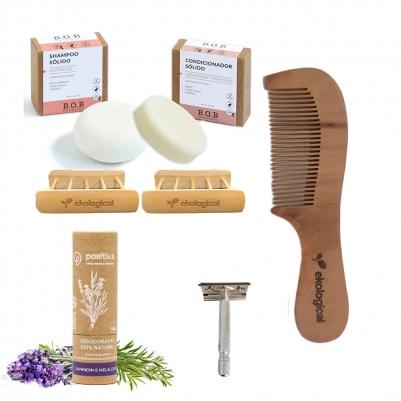 Kit Higiene Pessoal Corpo e Cabelo com Pente de Madeira