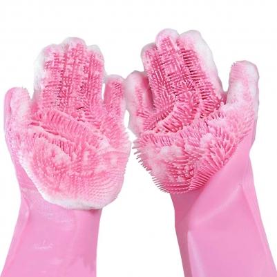 Luvas de Silicone De Limpeza Rosa e Detergente Lava Louças Sem Fragrância