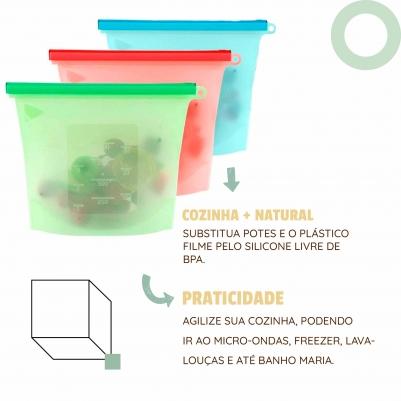 Saco Silicone Reutilizável 1000ml Avulso