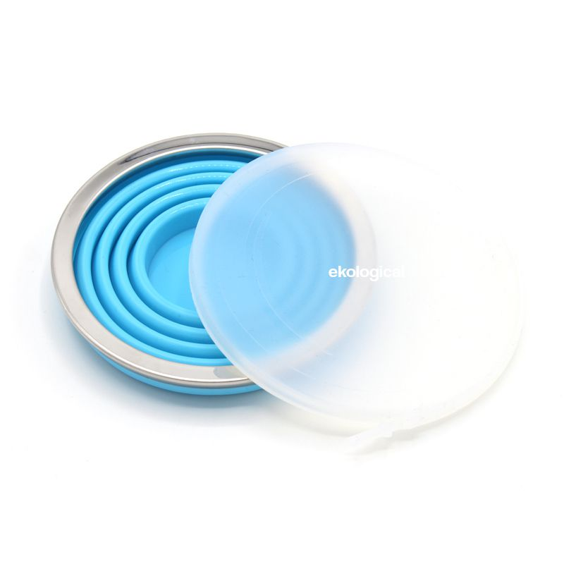 2 x Copo Retrátil de Silicone 270ml (Azul e Laranja) | Eko kit 5
