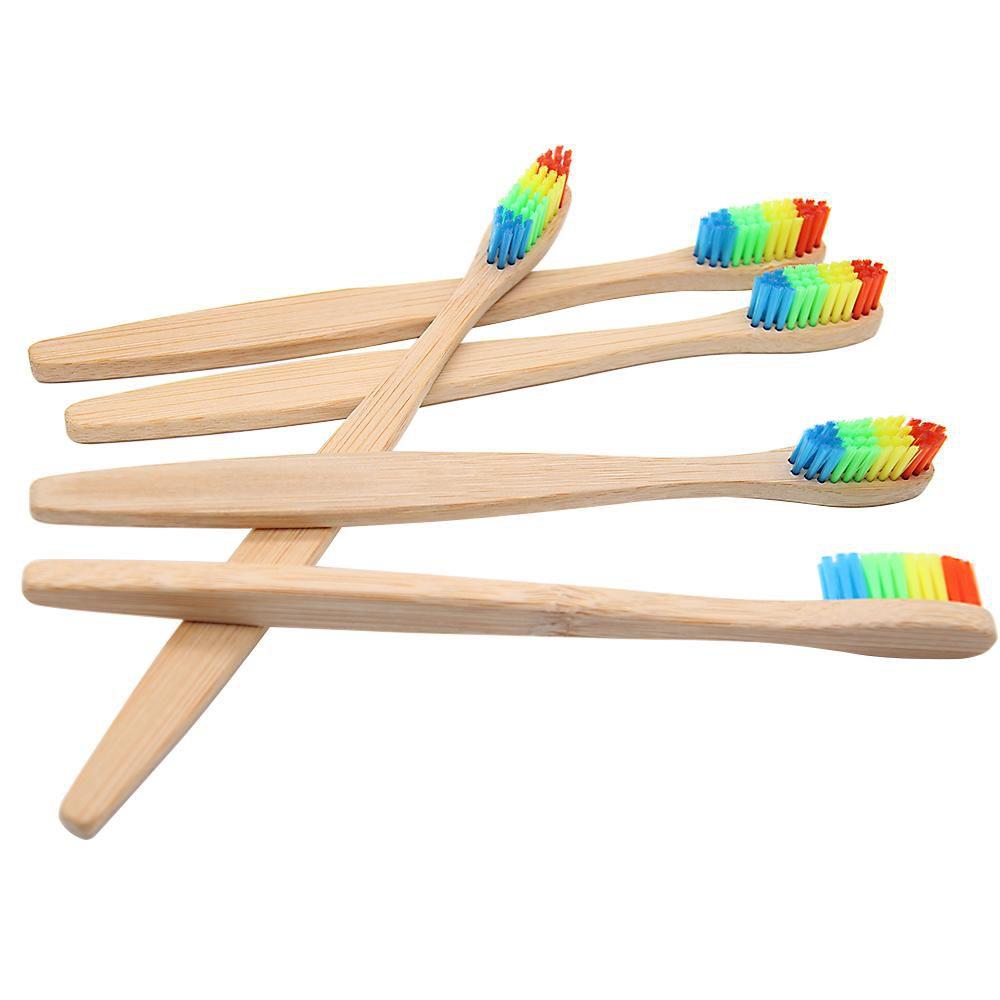5 escovas de dente ecológicas de bambú coloridas