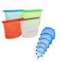 Kit 4 Sacos de Silicone 1000ml e Kit de 6 Tampas de Silicone Universal Azul