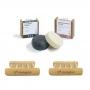 Kit Shampoo Detox e Condicionador em Barra e Saboneteiras de Bambu