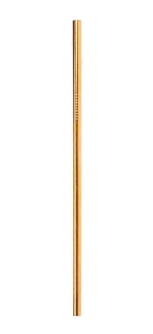 Canudo de Aço Inox Dourado Básico Reto