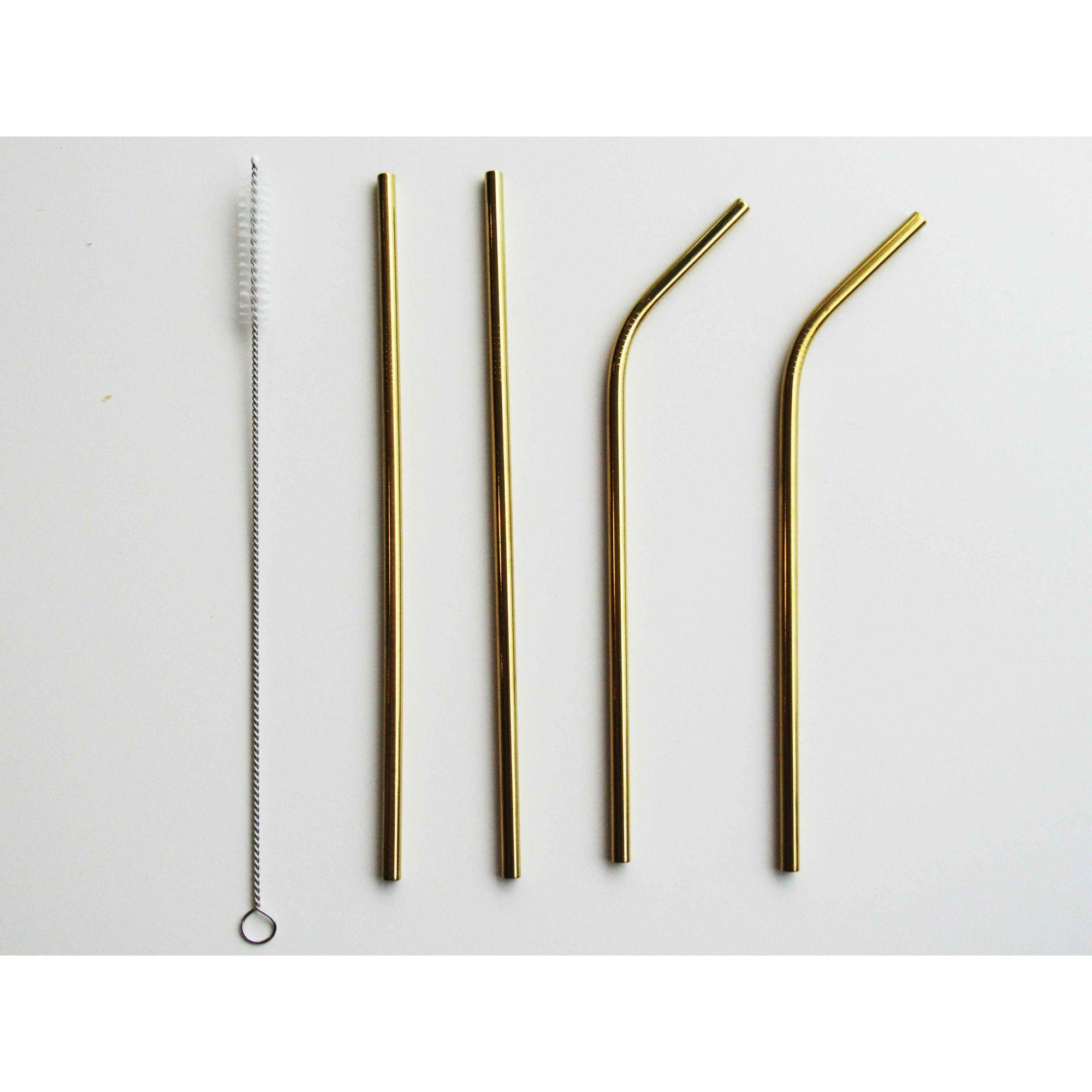 Kit com 4 Canudos Ecológicos Dourados de Aço Inox