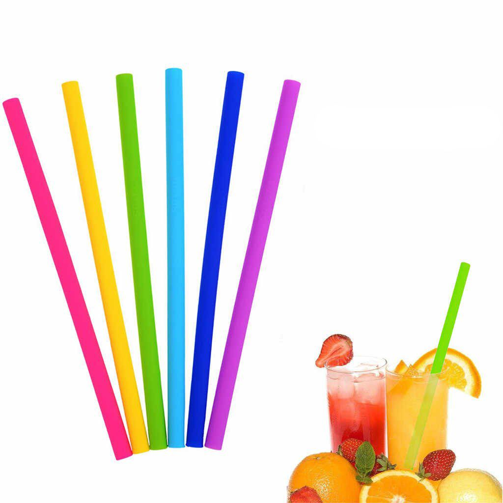 Kit de Canudos Retos Largos Coloridos de Silicone (6 peças)