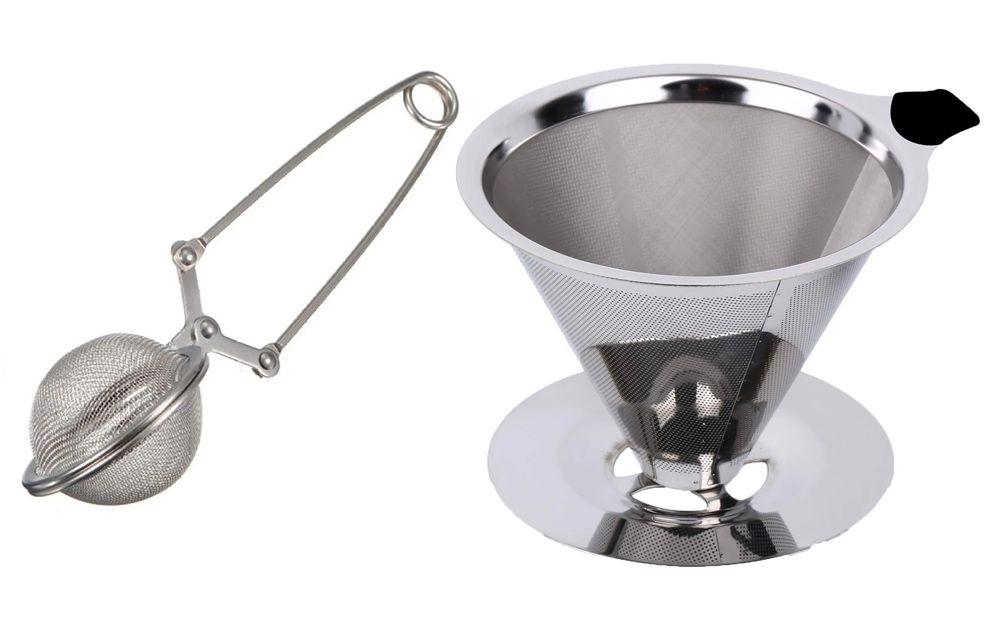 Coador de Café Inox 102 e Infusor de Chá com Pinça
