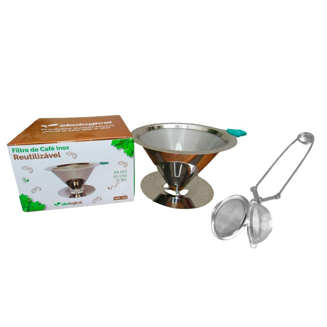 Coador de Café Inox 103 e Infusor de Chá com Pinça