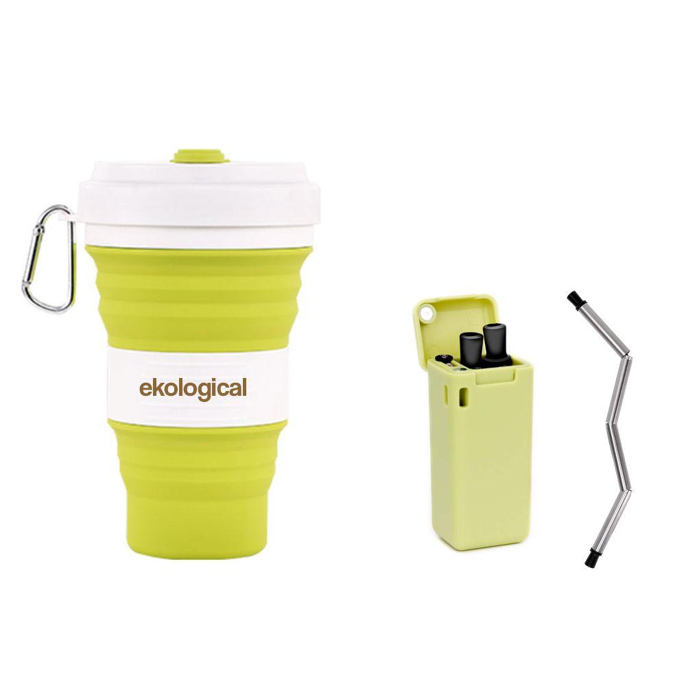 Copo de 550ml e Canudo Retrátil Cinza Verde | Eko Kit Pessoal