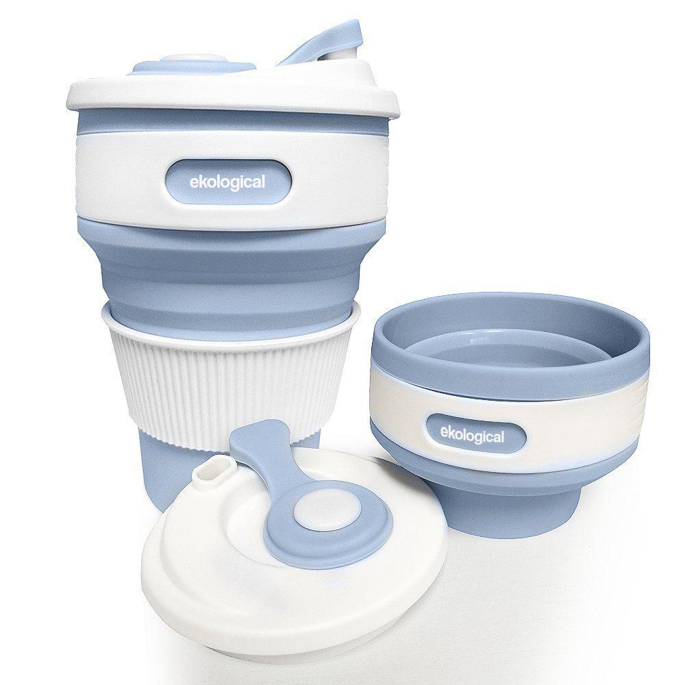 Copo Eco Retrátil Dobrável de Silicone Portátil Azul Claro 350ml