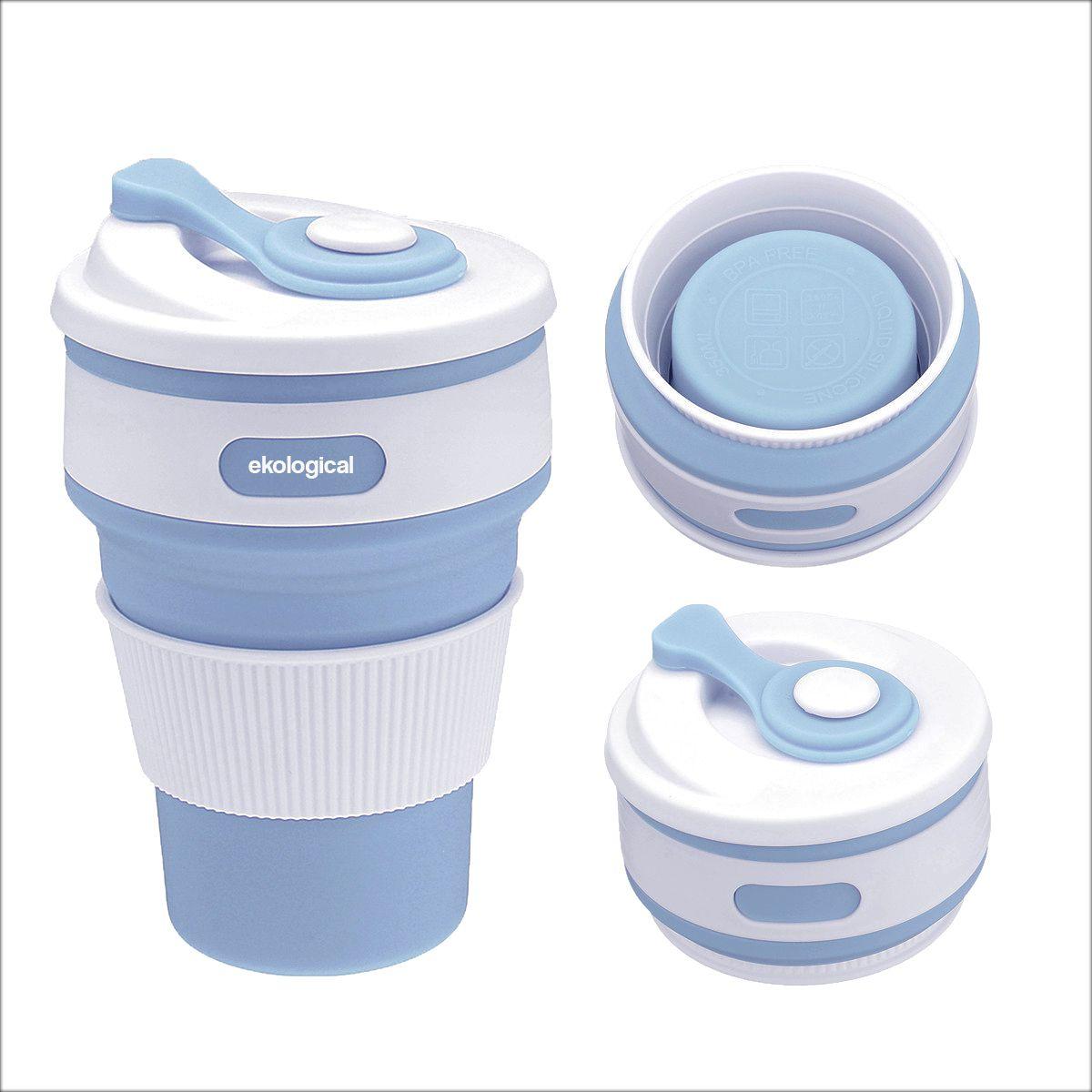 Copo Eco Retrátil de Silicone 350ml Azul Claro