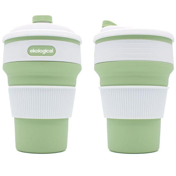 Copo Eco Retrátil Dobrável de Silicone 350ml Verde