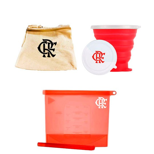 Copo Retratil 270ml e Saco de Silicone 1000ml | Kit Lanche Flamengo