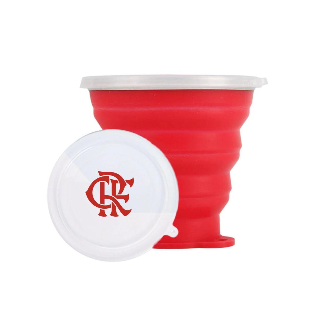 Copo Retratil 270ml e Saco de Silicone 1000ml   Kit Lanche Flamengo