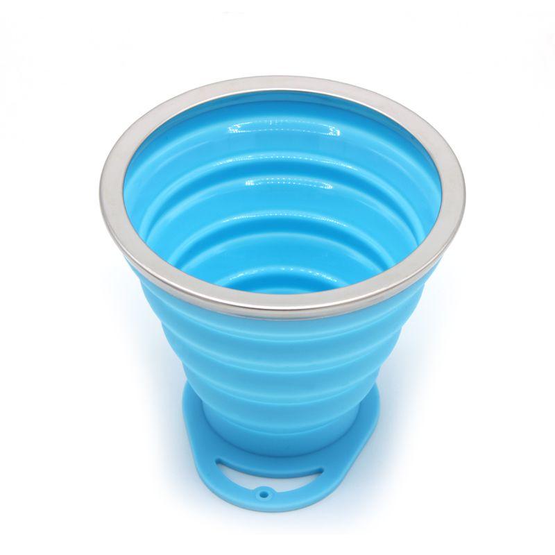 Copo Retrátil de Silicone 270ml Azul