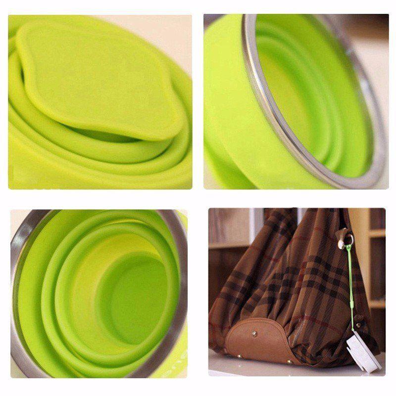 Copo Eco Retrátil Dobrável De Silicone 200ml Verde