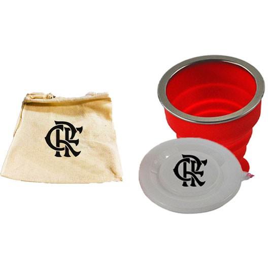 Copo Retrátil Dobrável De Silicone do Flamengo 200ml