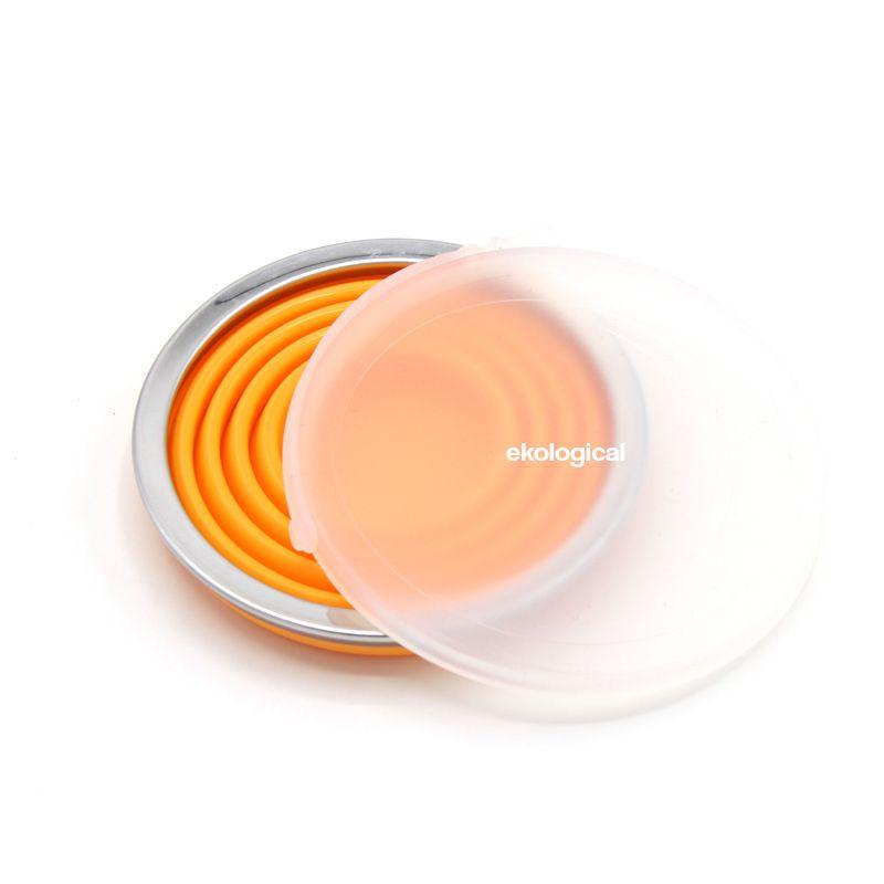 2 x Copo Retrátil de Silicone (Rosa e Laranja) 270ml | Eko kit 4