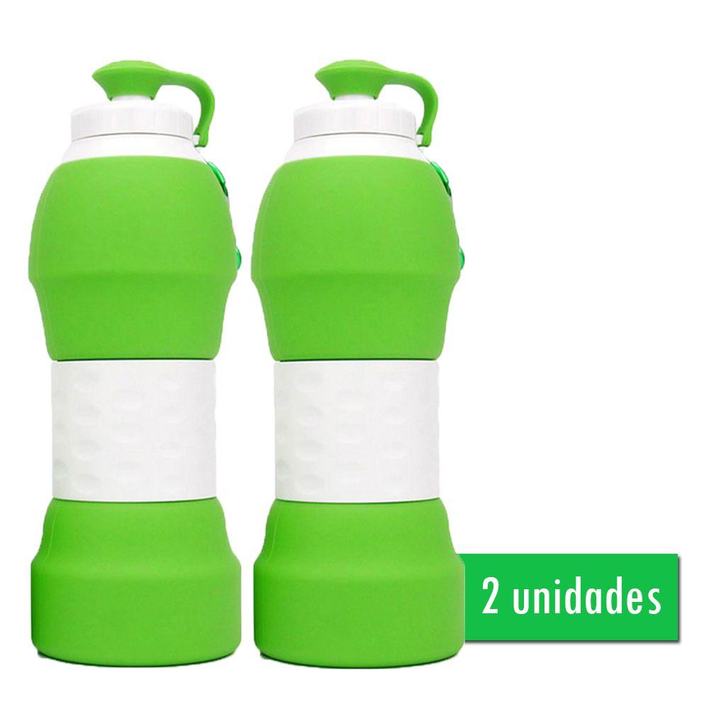 2 Garrafas Eco Retrátil Dobrável de Silicone Verde 580ml | Eko Kit 7