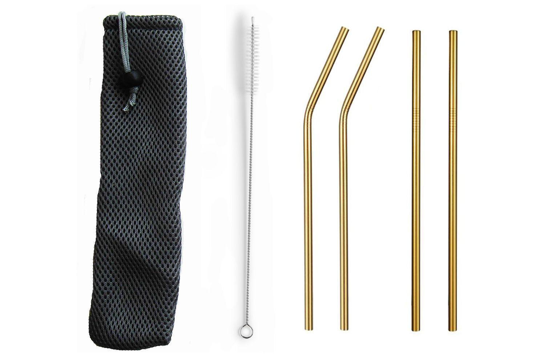 Garrafa e copo de silicone com kit de canudos dourados | Eko kit 9