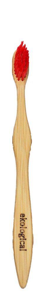 Escova de Dente de Bambu Vermelha