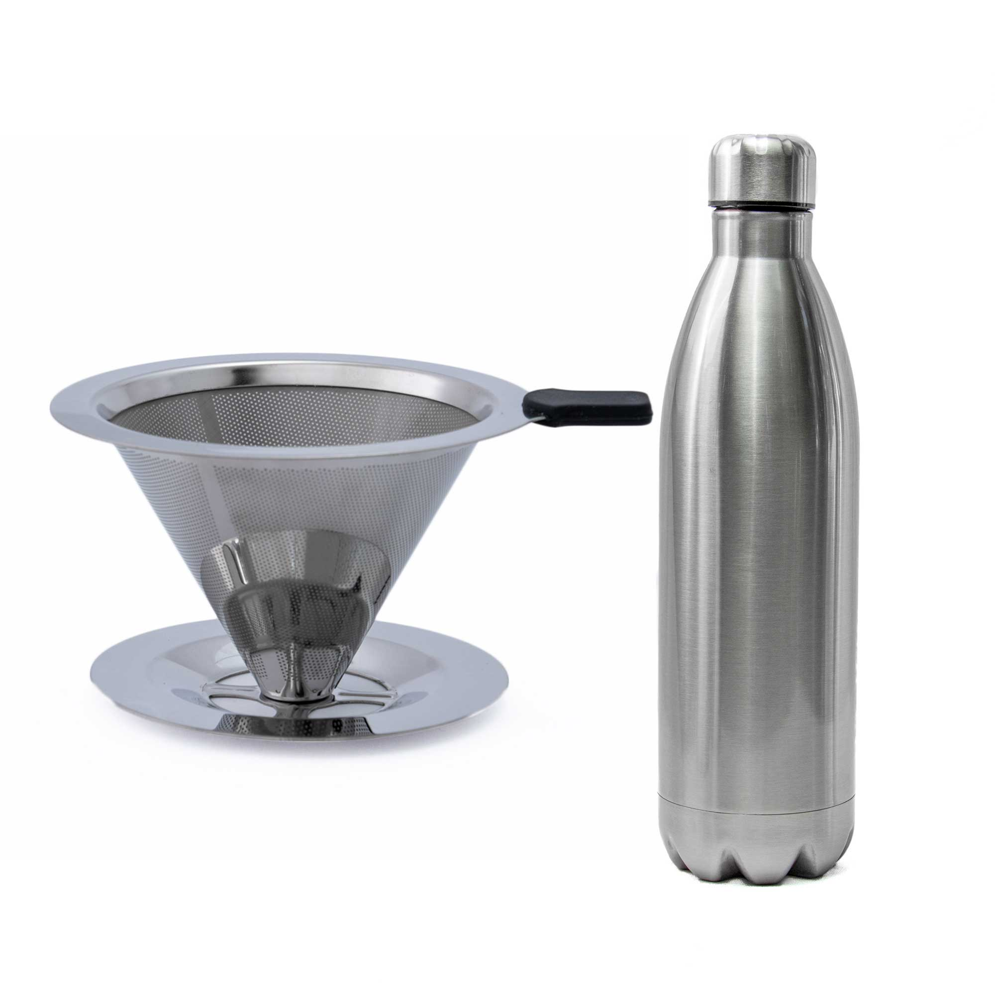 Filtro Coador de Café de Aço Inox Premium 102 e Garrafa Térmica de Inox 1L