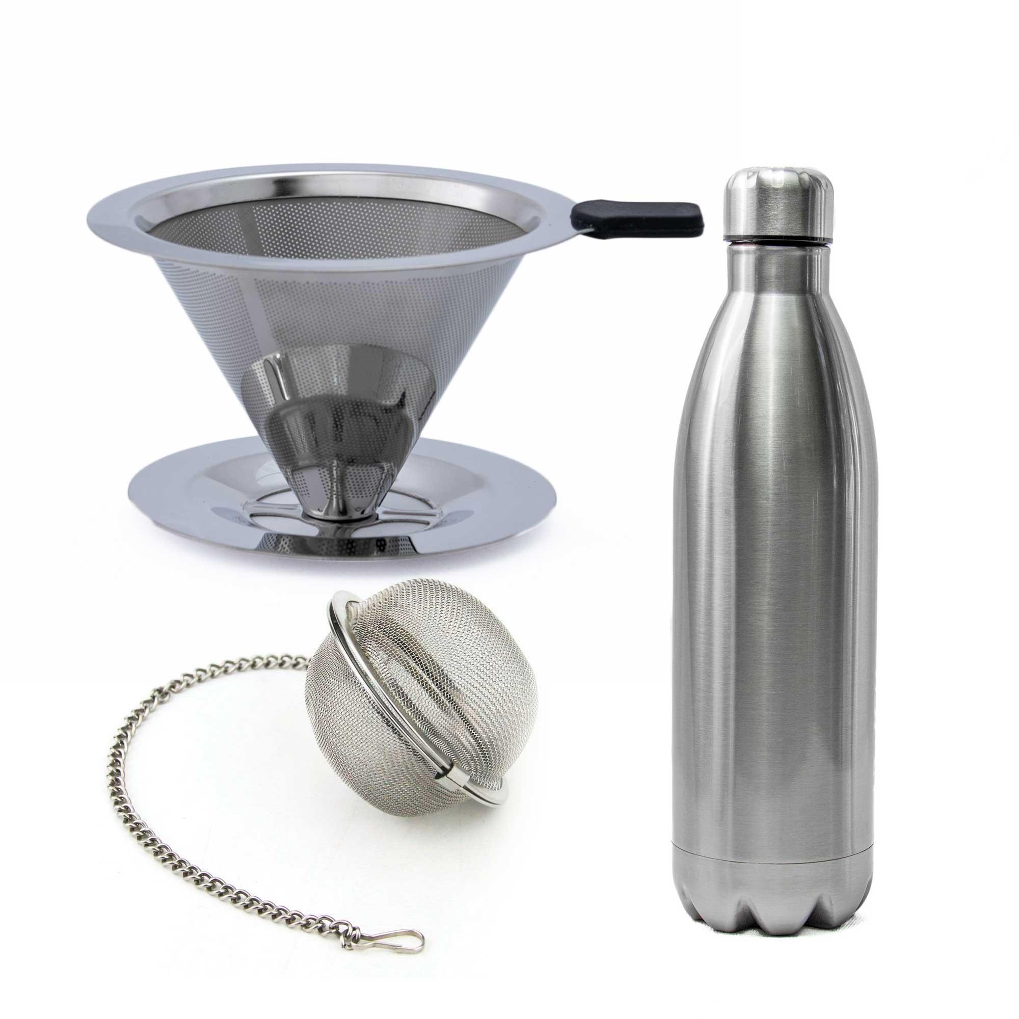 Filtro de Café Inox 102 com Infusor de Chá e Garrafa Térmica de Inox 1L