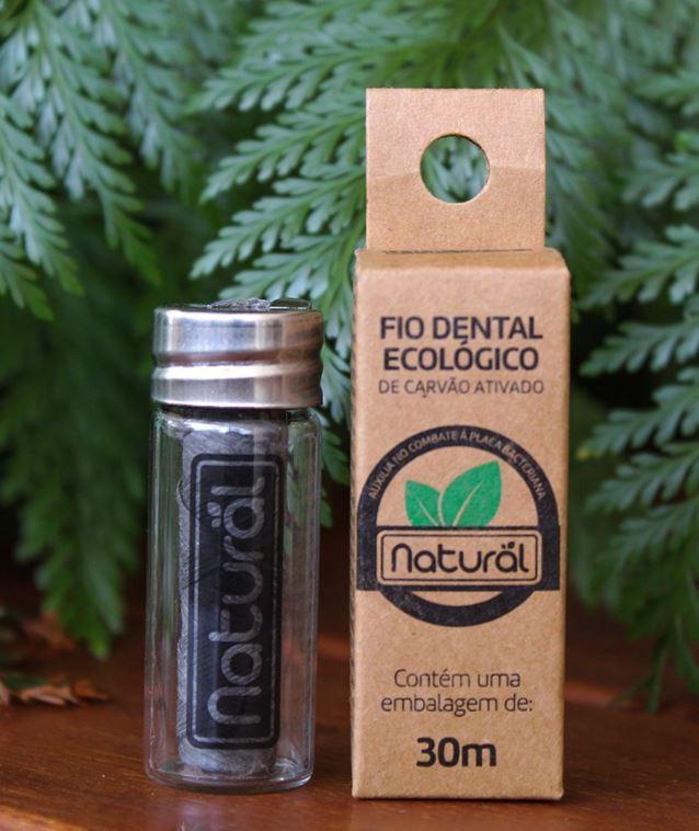 Fio Dental Ecológico de Carvão Ativado com Refil
