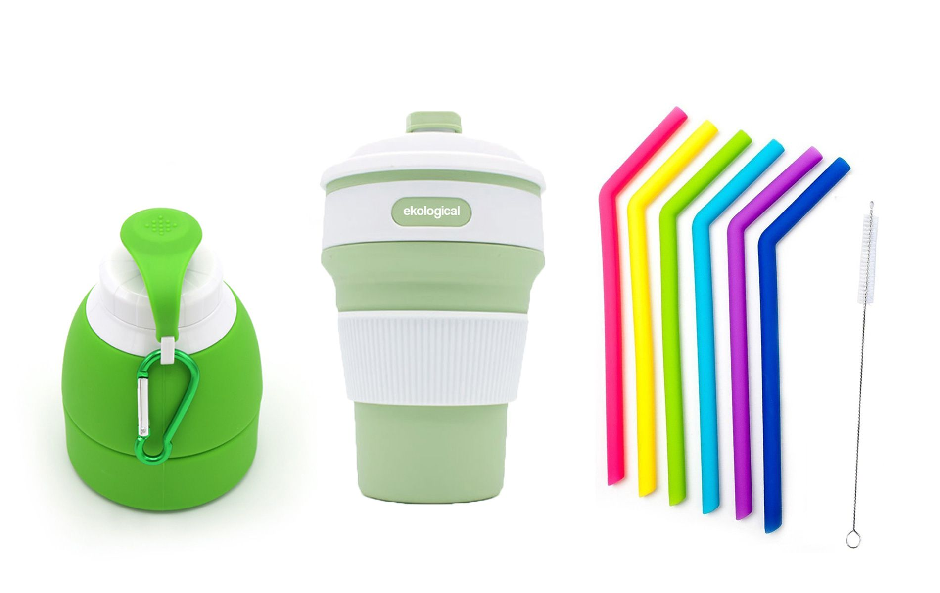 Garrafa , Copo de 350ml e 6 Canudos Reutilizáveis de Silicone | Eko Kit 12