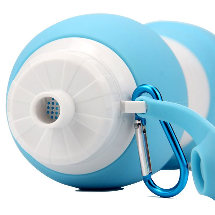 Garrafa Retrátil de Silicone Azul 580ml