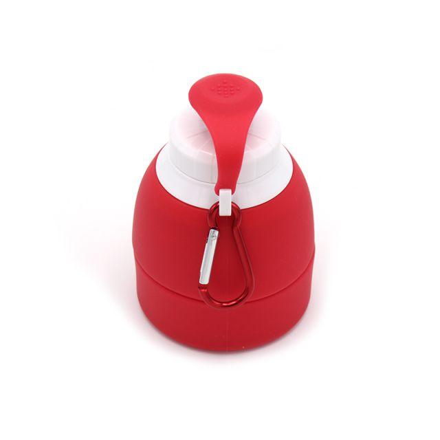 Garrafa Retrátil de Silicone Vermelha 580ml
