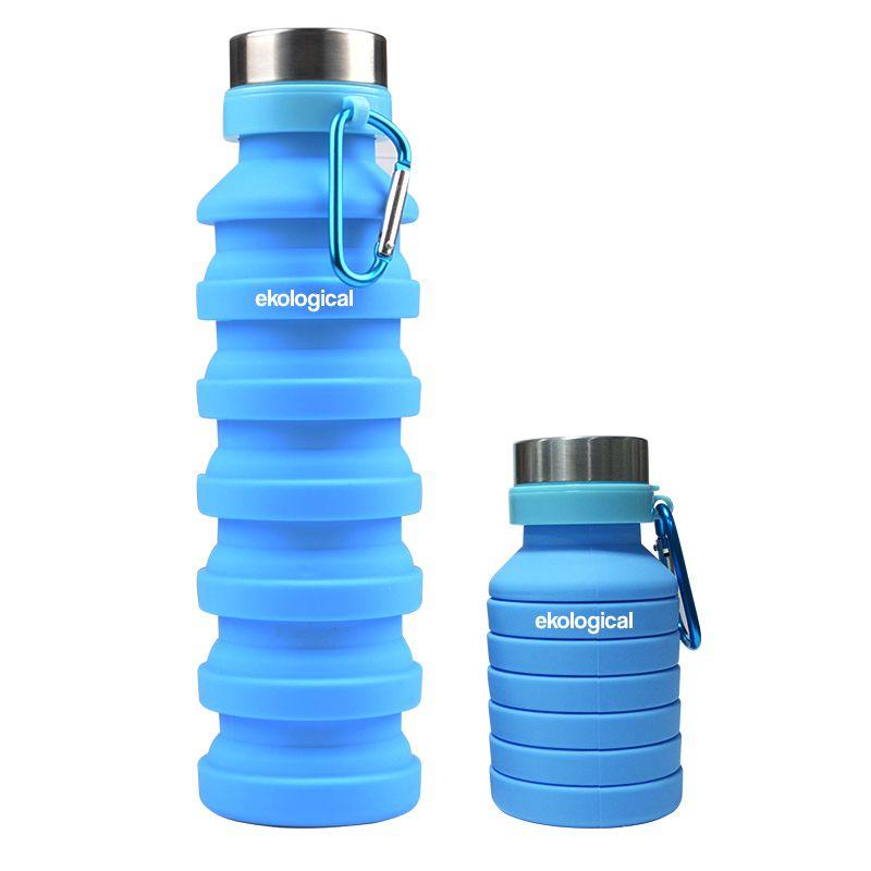 Garrafa Retrátil de Silicone Azul 550ml