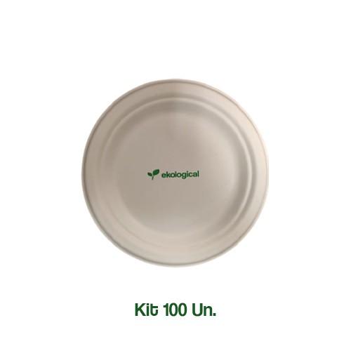 Kit 100 Pratos Biodegradáveis Ecologicos