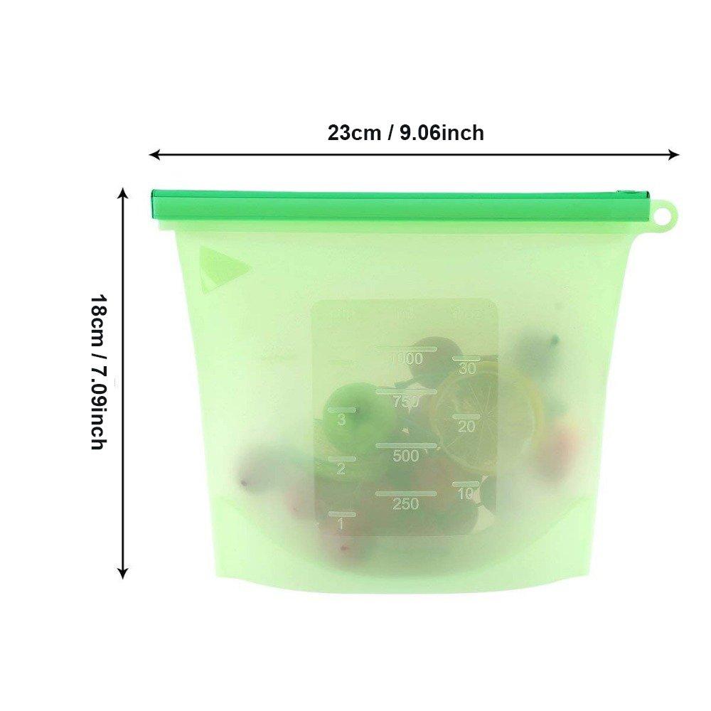 Kit 2 Sacos de Silicone Reutilizável 1000ml