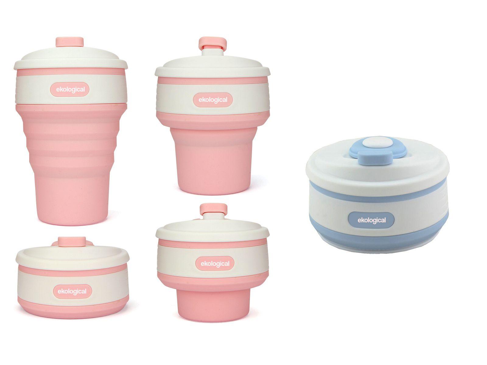2 x Copos Eco de Silicone 350ml  (Azul e Rosa)   Eko Kit 1