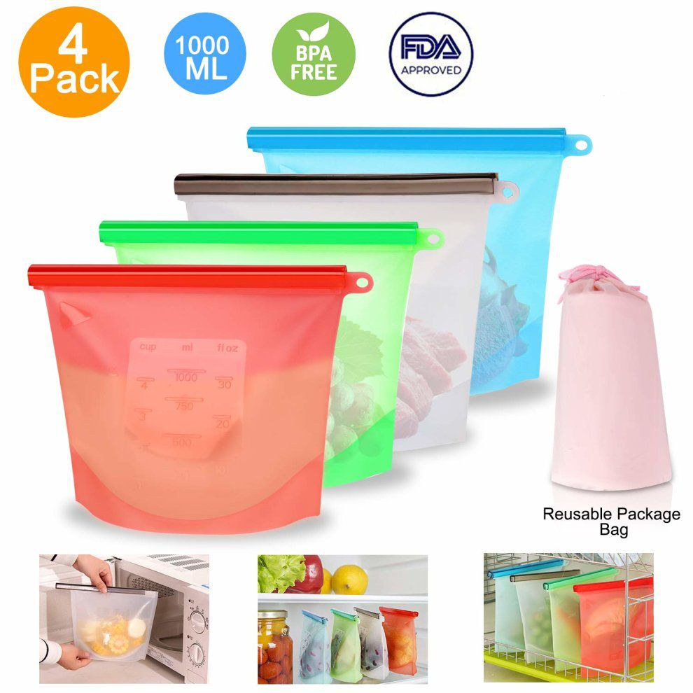 Kit 4 Sacos de Silicone Reutilizável BPA Free 1000ml