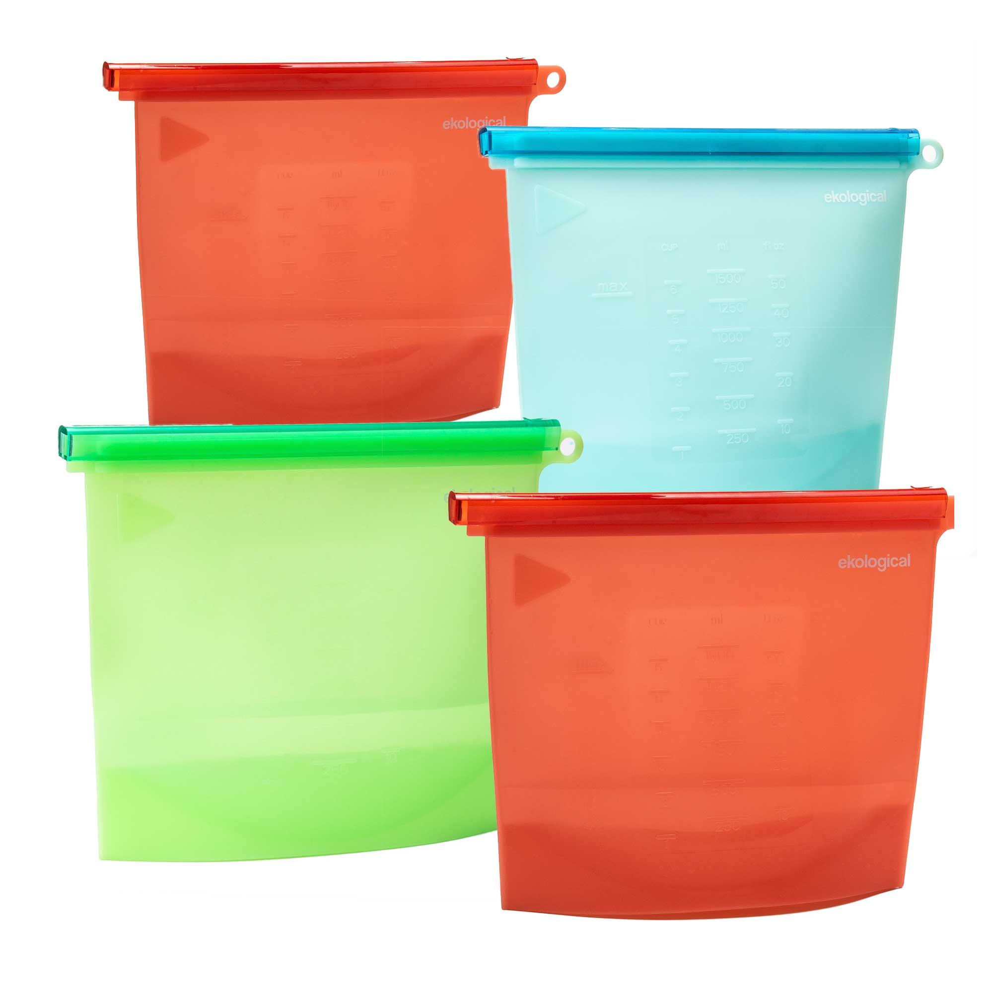 Kit 4 Sacos de Silicone Reutilizável ( 2 de 1000ml e 2 de 1500 ml)