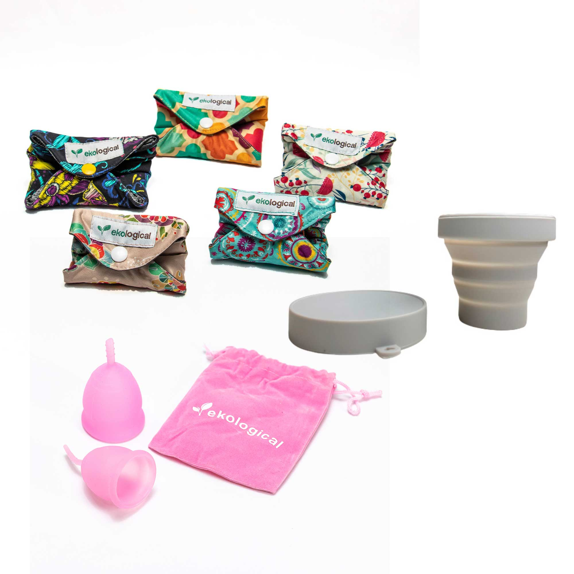 Kit 5 Absorventes + Coletor Menstrual e Copo Esterilizador
