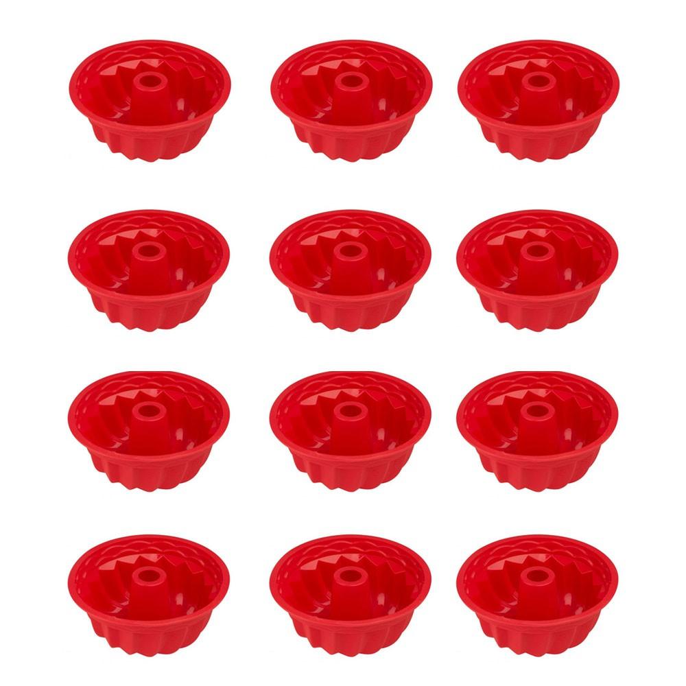 Kit c/ 12 Forminhas de Pudim de Silicone