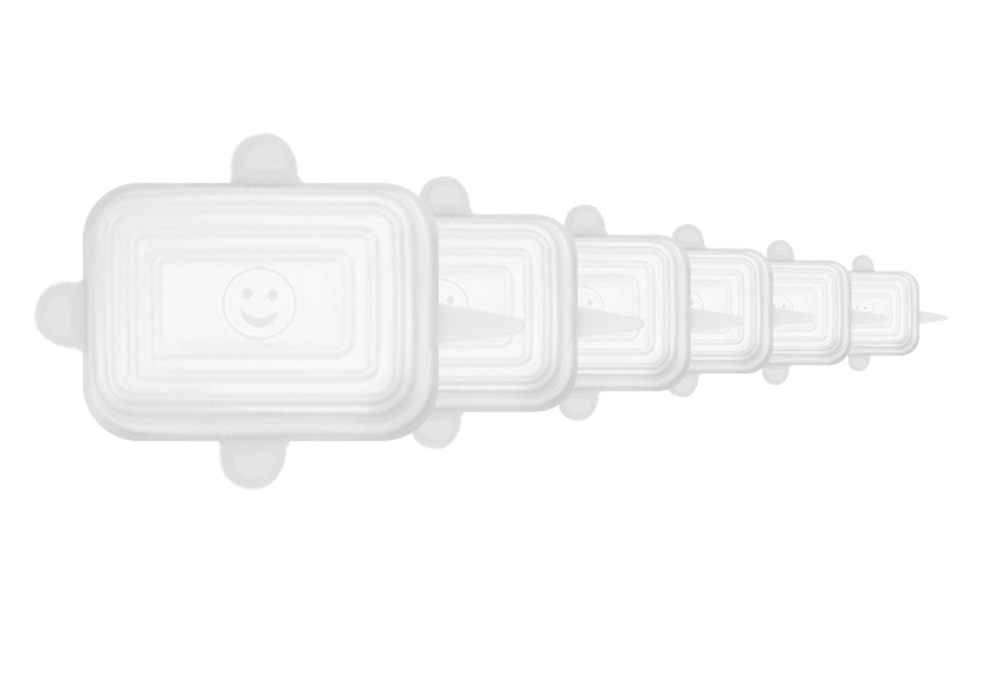 Kit de 6 Tampas Quadradas de Silicone Universal