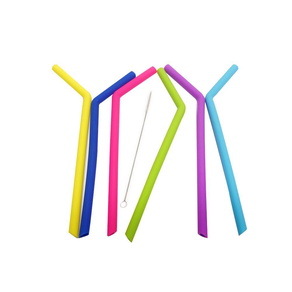 Kit de Canudos Curvos Largos Coloridos de Silicone (6 peças)