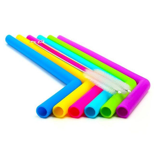 Kit com Canudos Coloridos Reutilizáveis de Silicone (6 peças)